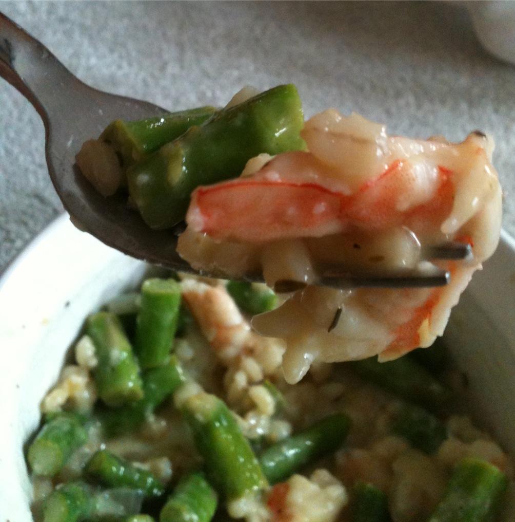Classic Shrimp and Asparagus Barley Risotto (pes, gf) | allez! gourmet