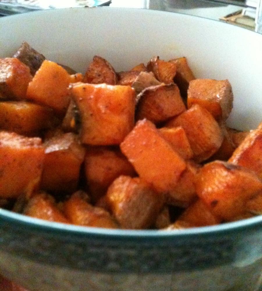 Roasted Brown Sugar Sweet Potatoes with Coarse Salt and Nutmeg