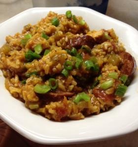 Chicken and Sausage Jambalaya with Brown Rice (gf)