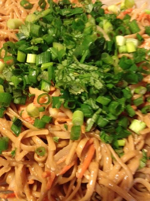 Spicy Peanut Noodles with Shrimp (1/4)