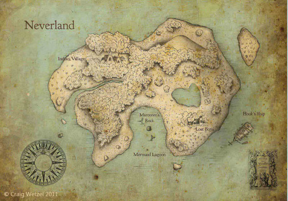 I was lazy and didn't take a picture of this step. Shame, shame! Enjoy this map of Neverland instead.